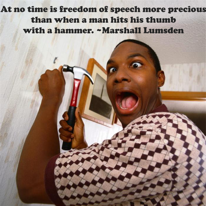 At no time is freedom of speech more precious than when a man hits his thumb with a hammer. ~Marshall Lumsden